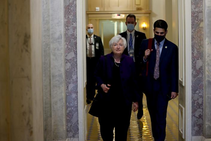 WASHINGTON, DC - AUGUST 03: Treasury Secretary Janet Yellen departs from a meeting in the U.S. Capitol Building on August 03, 2021 in Washington, DC. The Senate has moved on to the amendments process this week for the legislative text of the $1 trillion infrastructure bill, which aims to fund improvements to roads, bridges, dams, climate resiliency and broadband internet.  (Photo by Anna Moneymaker/Getty Images)