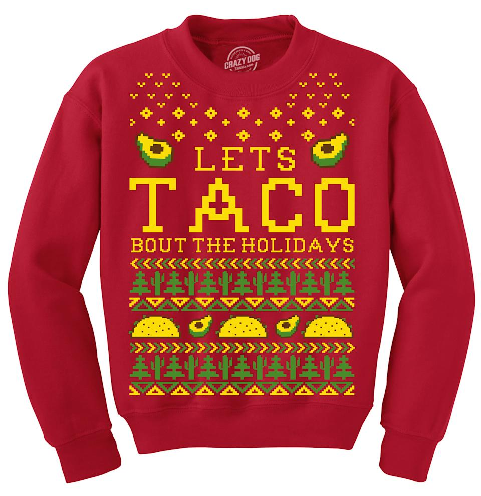 Lets Taco Bout The Holidays Christmas Ugly Sweater. Image via Amazon.