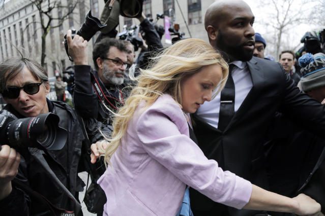 Stormy Daniels arrives at federal court in New York on Monday. (Photo: Seth Wenig/AP)