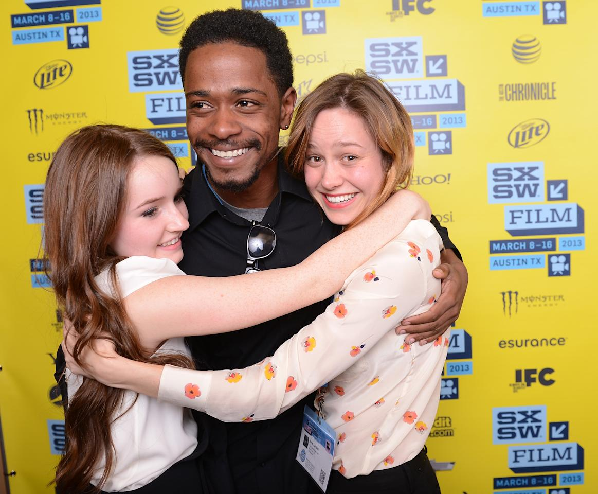 "AUSTIN, TX - MARCH 12:  (L-R) Actress Kaitlyn Dever actor Keith Stanfield and actress Brie Larson, who acted in the film ""Short Term 12"" celebrate after winning the Grand Jury Award for Narrative Feature at the 2013 SXSW Film Awards during the 2013 SXSW Music, Film + Interactive Festival at The Paramount Theatre on March 12, 2013 in Austin, Texas.  (Photo by Michael Buckner/Getty Images for SXSW)"