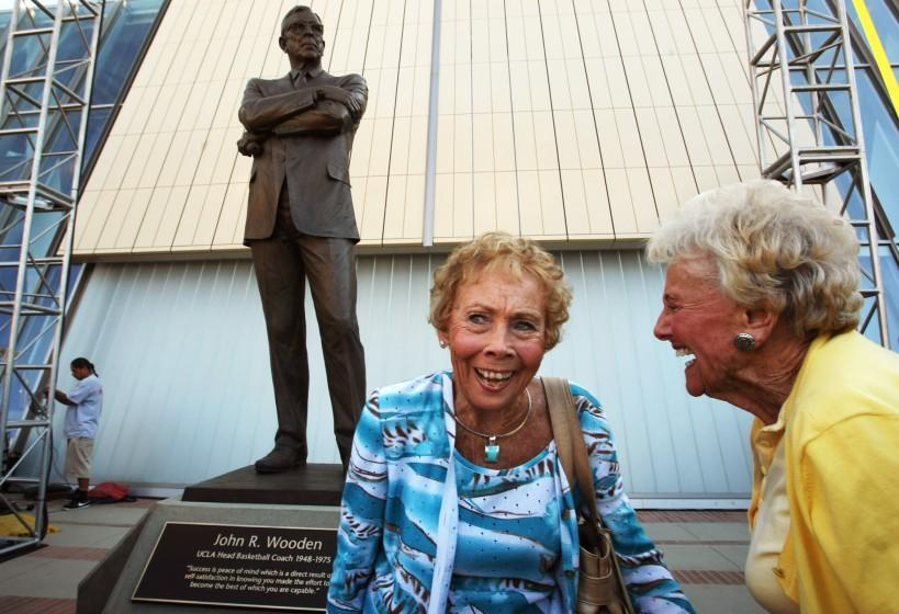 WESTWOOD, CA - OCTOBER 26, 2012 -- Nan Wooden, left, enjoys a light moment with friend Mary Lou Smith.