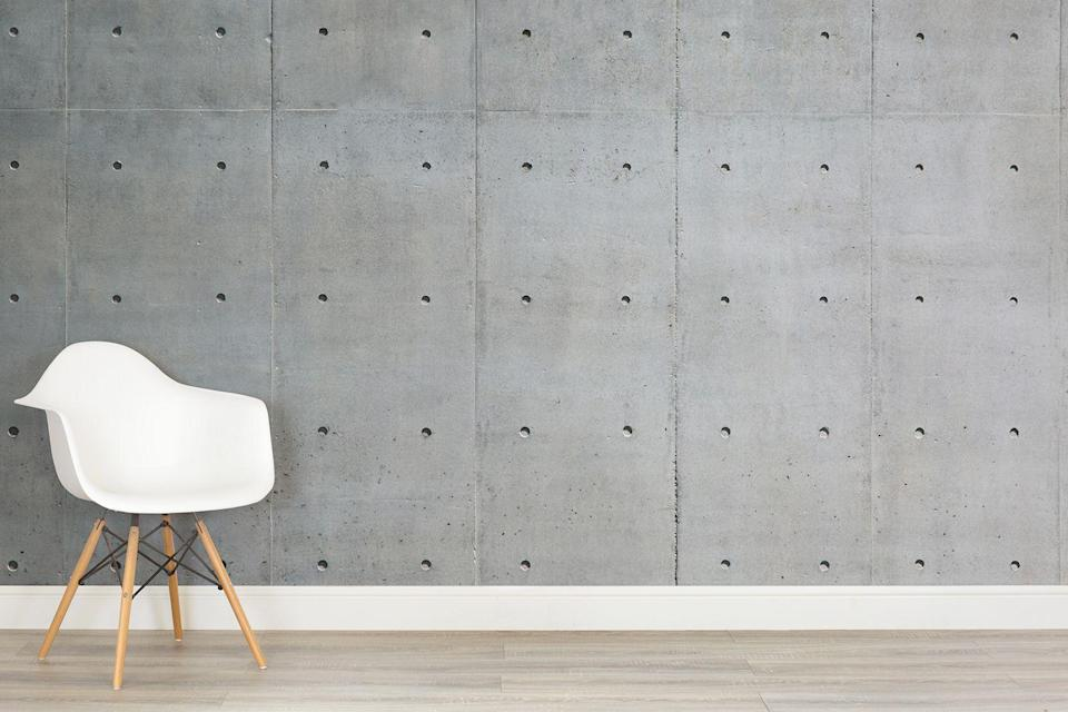 """<p>Nothing says 'give a damn' like concrete. With its brutalist, what-you-see-is-what-you-get look, it will rough up even the sleekest of rooms. Just the thing for bland spaces in need of attitude.</p><p><strong>Murals Wallpaper</strong> Bare Concrete Wall Mural, £25 per square metre, available at <a href=""""http://www.muralswallpaper.co.uk/shop-murals/bare-concrete-wall-wallpaper-mural/"""" rel=""""nofollow noopener"""" target=""""_blank"""" data-ylk=""""slk:Murals Wallpaper"""" class=""""link rapid-noclick-resp"""">Murals Wallpaper</a></p>"""