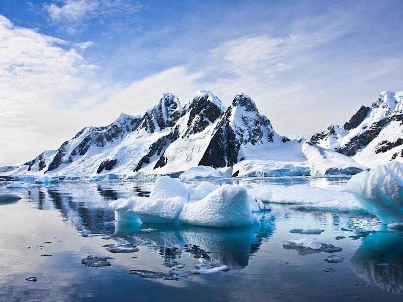 Beautiful snow-capped mountains against the blue sky in Antarctica: iStockphoto