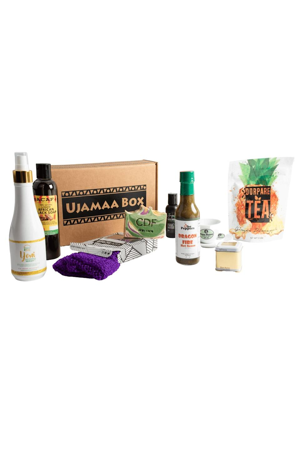 """<p>ujamaabox.com</p><p><strong>$60.00</strong></p><p><a href=""""https://ujamaabox.com/product/quarterly-ujamaa-box-2/"""" rel=""""nofollow noopener"""" target=""""_blank"""" data-ylk=""""slk:Shop Now"""" class=""""link rapid-noclick-resp"""">Shop Now</a></p><p>Subscribing to the Ujamaa Box means supporting up to six different Black-owned businesses every month. It's a great way to uplift the Black community while treating yourself to everything from hair care to canvas art.</p>"""