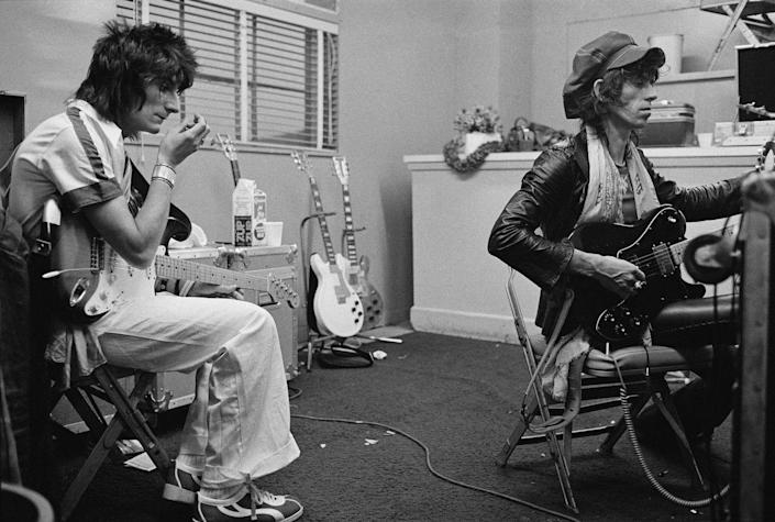 <p>Ronnie Wood and Keith Richards backstage during the group's 1975 Tour of the Americas.</p>