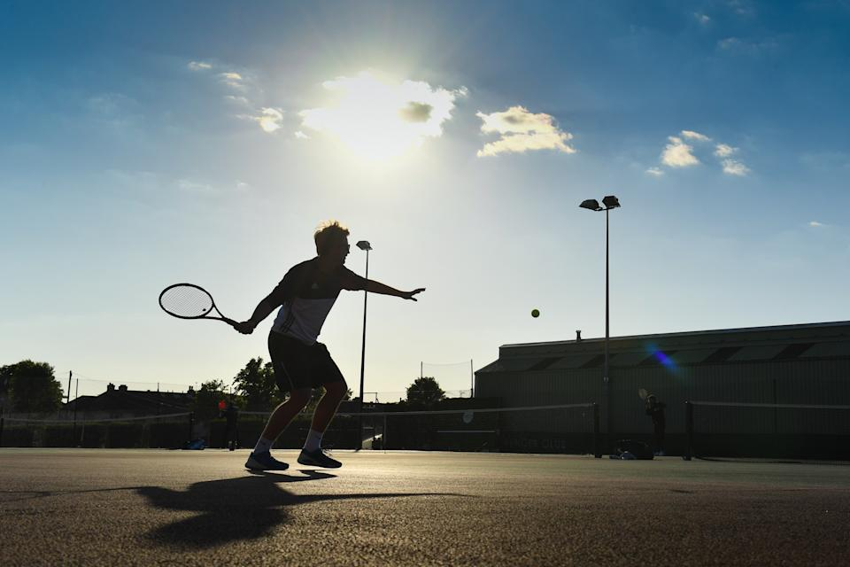 The Spencer Lawn Tennis Club in Wandsworth on the second day of the easing of some lockdown restrictions in England as the UK continues in the eighth week to help curb the spread of the coronavirus.