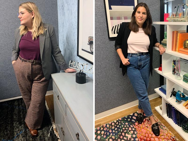 """Brittany and Danielle were both a little out of their comfort zones when they paired a T-shirt with a business casual look. (Photo: <a href=""""https://www.instagram.com/shilohnoelle/"""" target=""""_blank"""">Shiloh Gulickson</a>)"""