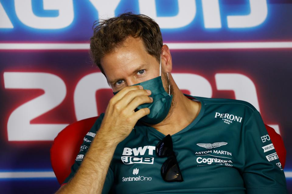 BUDAPEST, HUNGARY - JULY 29: Sebastian Vettel of Germany and Aston Martin F1 Team talks in the Drivers Press Conference during previews ahead of the F1 Grand Prix of Hungary at Hungaroring on July 29, 2021 in Budapest, Hungary. (Photo by Florion Goga - Pool/Getty Images)
