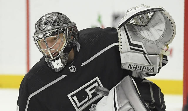 Los Angeles Kings goaltender Jonathan Quick gives up a goal to New Jersey Devils right wing Kyle Palmieri during the first period of an NHL hockey game Thursday, Dec. 6, 2018, in Los Angeles. (AP Photo/Mark J. Terrill)