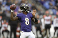 Baltimore Ravens quarterback Lamar Jackson looks to pass against the Cincinnati Bengals during the second half of a NFL football game Sunday, Oct. 13, 2019, in Baltimore. (AP Photo/Nick Wass)