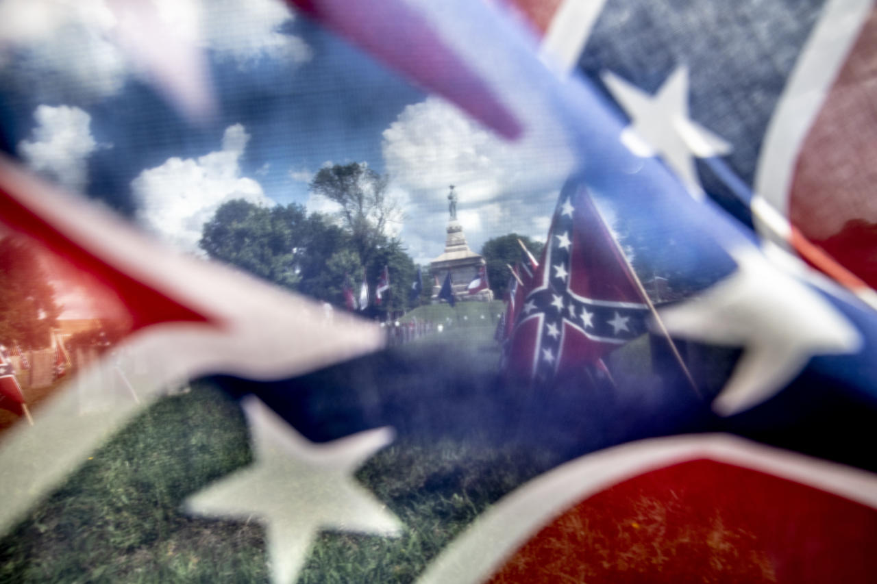 <p>Confederate Memorial Day in Fredericksburg, Va., 2018. (Photograph by Mark Peterson/Redux Pictures) </p>