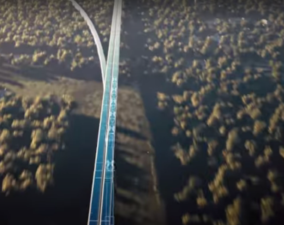 The company showed off how different passengers could 'split off' to different destinations (Virgin Hyperloop)