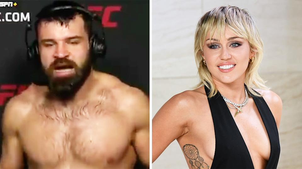 UFC fighter Julian Marquez (pictured left) during his post-match interview and pop star Miley Cyrus (pictured right) posing for a photo.