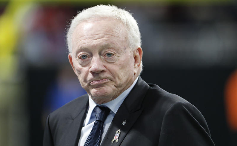 Jerry Jones' Cowboys took it on the chin on Sunday in a loss to the Atlanta Falcons, who are owned by a man Jones is at odds with over Roger Goodell. (AP)