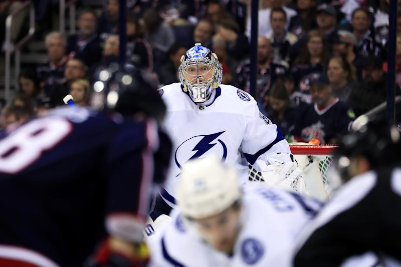 Apr 14, 2019; Columbus, OH, USA; Tampa Bay Lightning goaltender Andrei Vasilevskiy (88) awaits the face-off against the Columbus Blue Jackets during the third period in game three of the first round of the 2019 Stanley Cup Playoffs at Nationwide Arena. Mandatory Credit: Aaron Doster-USA TODAY Sports