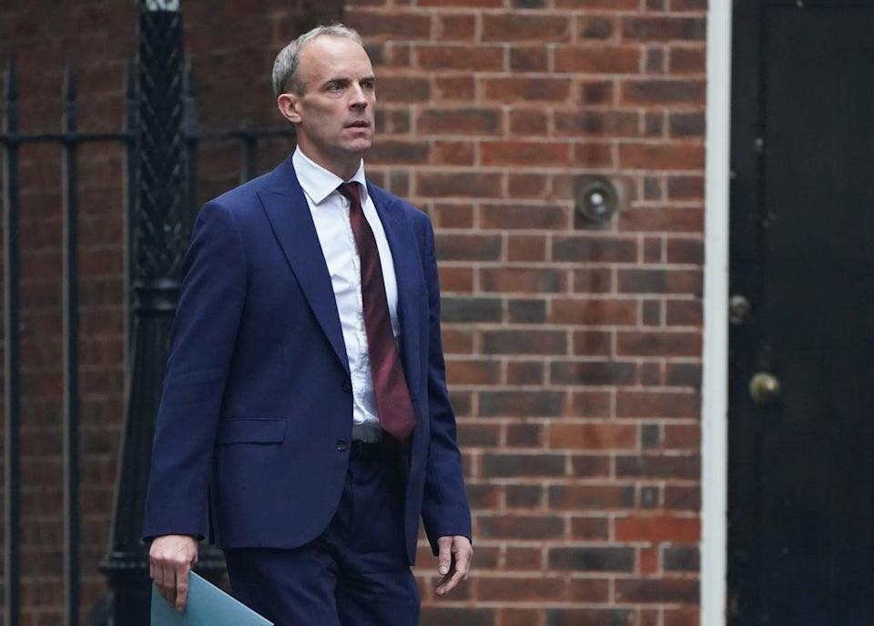 Foreign Secretary Dominic Raab arrives at 10 Downing Street (PA) (PA Wire)
