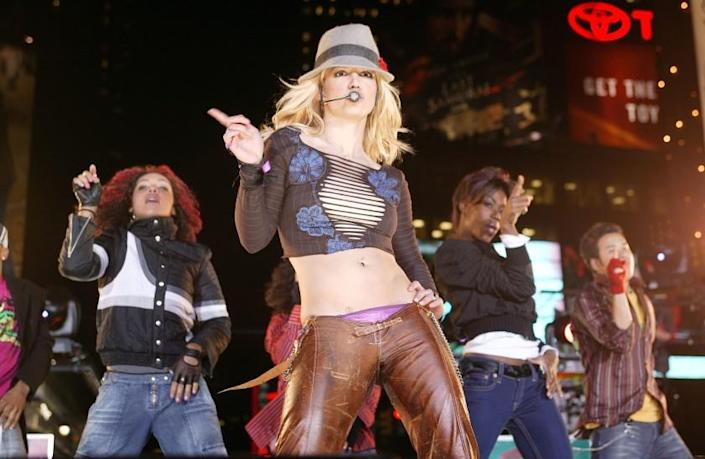 Britney Spears performs on MTV's Total Request Live, Nov. 10, 2003 in New York City.