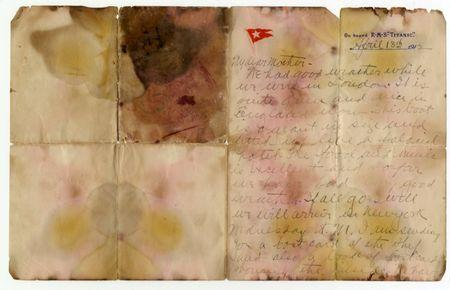 A letter written on April 13, 1912 and recovered from the body of Alexander Oskar Holverson, a Titanic victim, is seen in this photograph received in London