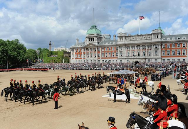 Queen Elizabeth II inspects the Household Cavalry during the Colour at Horse Guards Parade. (Getty Images)