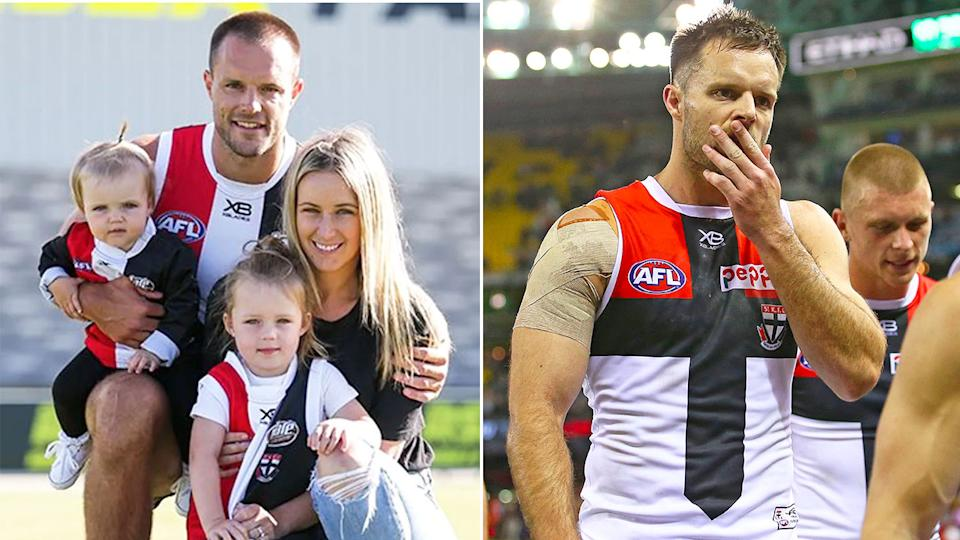 Pictured here, Nathan Brown with his wife and two daughters.