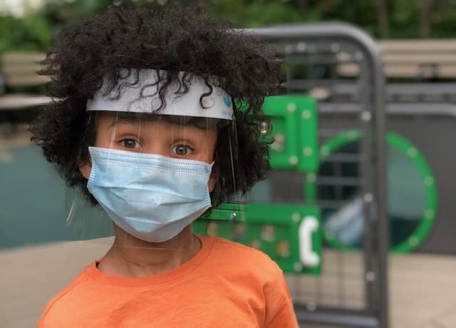 Little Lives PPE created face shields that can fit children as young as two years old. (Photo: Little Lives PPE)