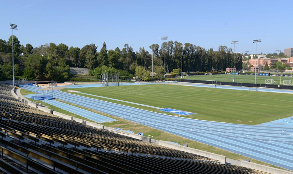May 11, 2017; Los Angeles, CA, USA; General overall view of Drake Stadium on the campus of UCLA. the facility is a proposed track and field practice site for the 2024 Los Angeles Olympic Games. Mandatory Credit: Kirby Lee-USA TODAY Sports