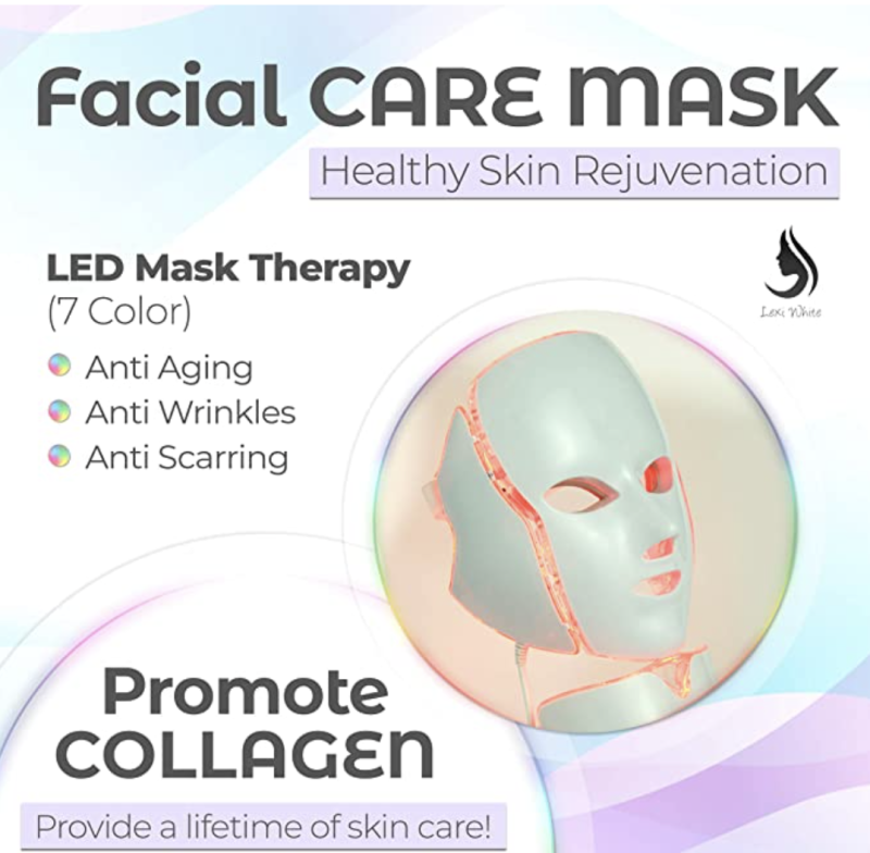 LED Face Mask Neck, 7 Color, For Healthy Skin Rejuvenation. PHOTO: Amazon
