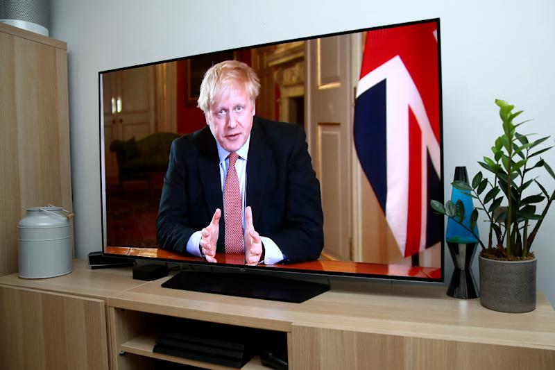 AYLESBURY - ENGLAND, - MARCH 23: Prime Minister Boris Johnson is seen in a televised address to the Nation announcing new restrictions requiring the general public to stay at home for at least 3 weeks on March 23, 2020 in Aylesbury, Buckinghamshire, . Coronavirus (COVID-19) pandemic has spread to at least 182 countries, claiming over 10,000 lives and infecting hundreds of thousands more. (Photo by Marc Atkins/Getty Images)