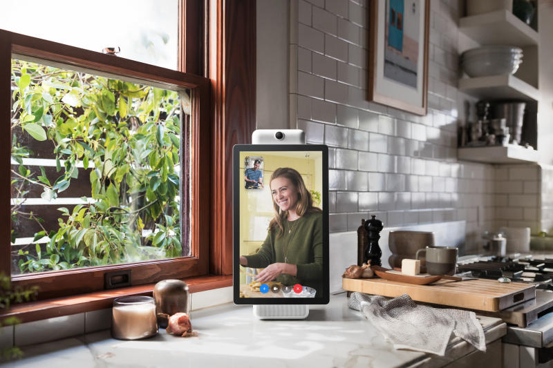 This image provided by Facebook shows the company's product called Portal Plus. Facebook is marketing the device as a way for its more than 2 billion users to chat with one another without having to fuss with positioning and other controls. (Facebook via AP)