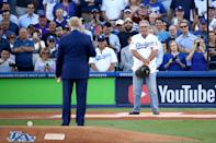<p>Former Los Angeles Dodgers broadcaster Vin Scully speaks to former Los Angeles Dodgers player Steve Yeager before game two of the 2017 World Series between the Houston Astros and the Los Angeles Dodgers at Dodger Stadium on October 25, 2017 in Los Angeles, California. (Photo by Ezra Shaw/Getty Images) </p>