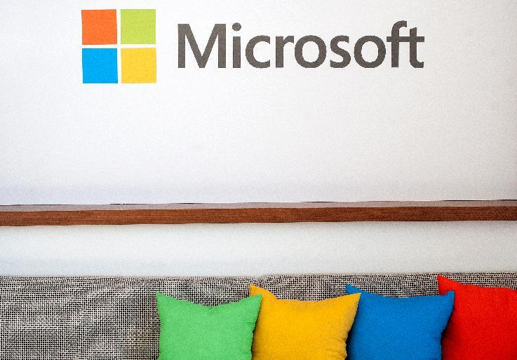 File photo of the Microsoft logo in San Francisco, California on March 27, 2014 (AFP Photo/Josh Edelson)