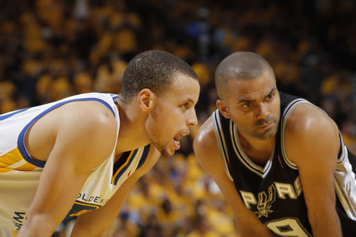 OAKLAND, CA - MAY 10: Stephen Curry #30 of the Golden State Warriors and Tony Parker #9 of the San Antonio Spurs in Game Three of the Western Conference Semifinals during the 2013 NBA Playoffs on May 10, 2013 at Oracle Arena in Oakland, California. (Photo by Rocky Widner/NBAE via Getty Images)