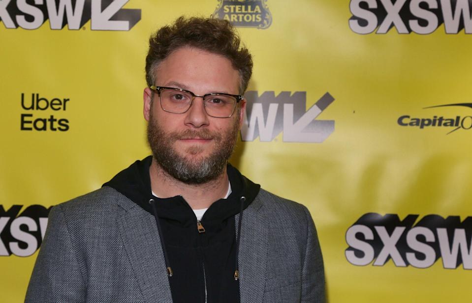 """Seth Rogen arrives for the world premiere of """"Good Boys"""" at the Paramount Theatre during the South by Southwest Film Festival on Monday, March 11, 2019, in Austin, Texas. (Photo by Jack Plunkett/Invision/AP)"""