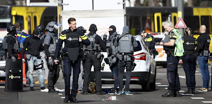 Police forces stand near a tram at the 24 Oktoberplace in Utrecht, on March 18, 2019 where a shooting took place. (Photo credit should read Robin Van Lonkhuijsen/AFP/Getty Images)