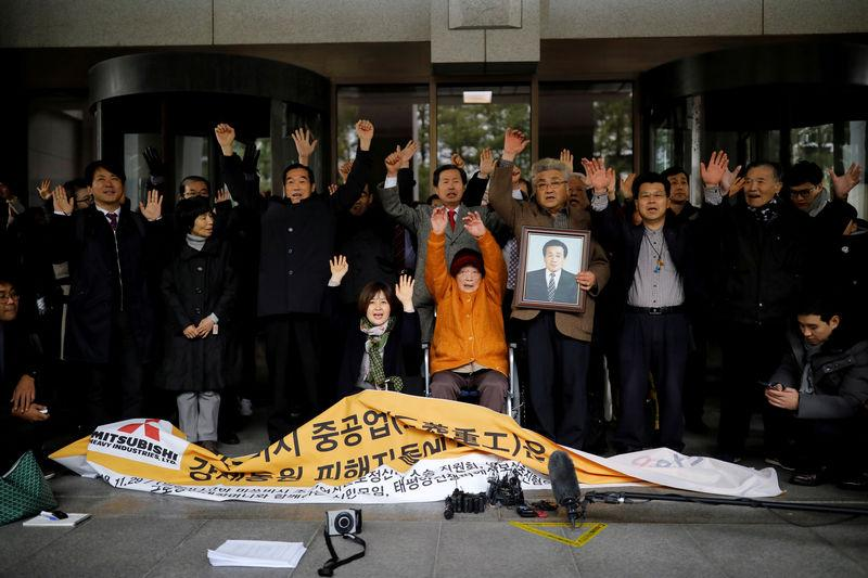 FILE PHOTO: Kim Seong-ju, a victim of wartime forced labor during the Japanese colonial period, cheers with her supporters and relatives of another victims after hearing the court ruling at the Supreme Court in Seoul, South Korea, November 29, 2018. REUTERS/Kim Hong-Ji