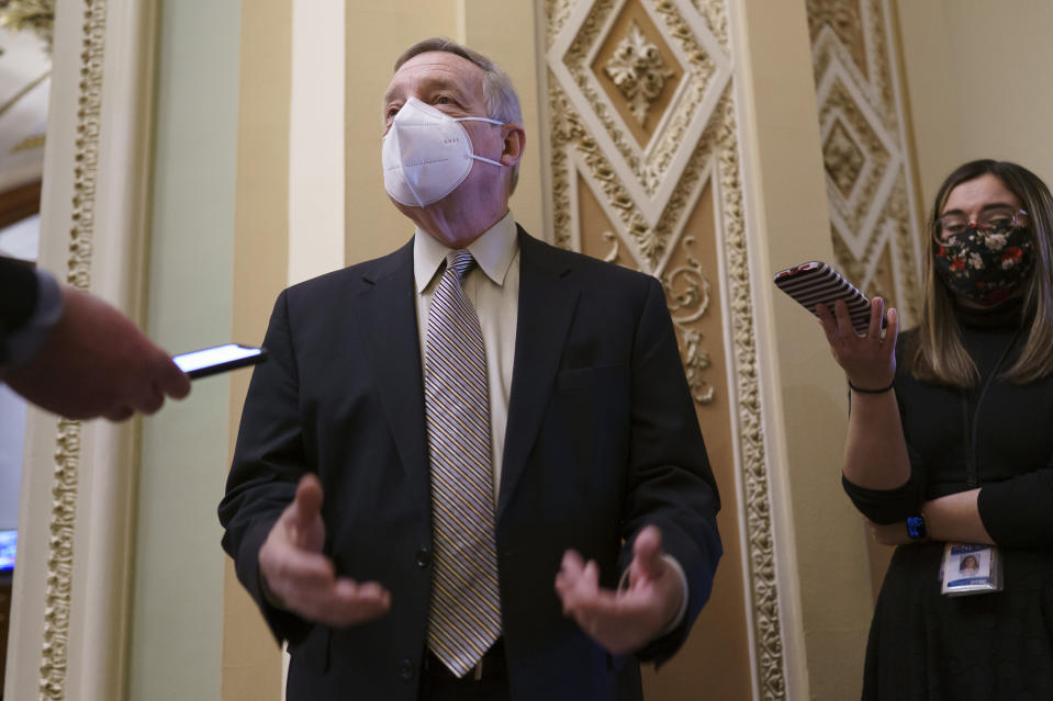 Senate Majority Whip Dick Durbin, D-Ill., talks to reporters after a floor speech criticizing the filibuster, at the Capitol in Washington, Tuesday, March 16, 2021. (AP Photo/J. Scott Applewhite)