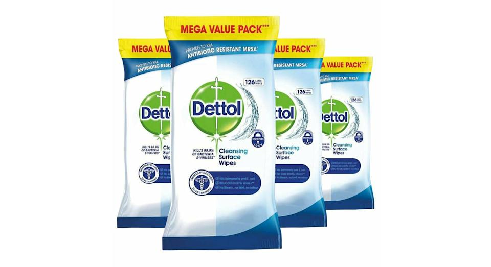 4 x Dettol Surface Cleansing 126 Wipes