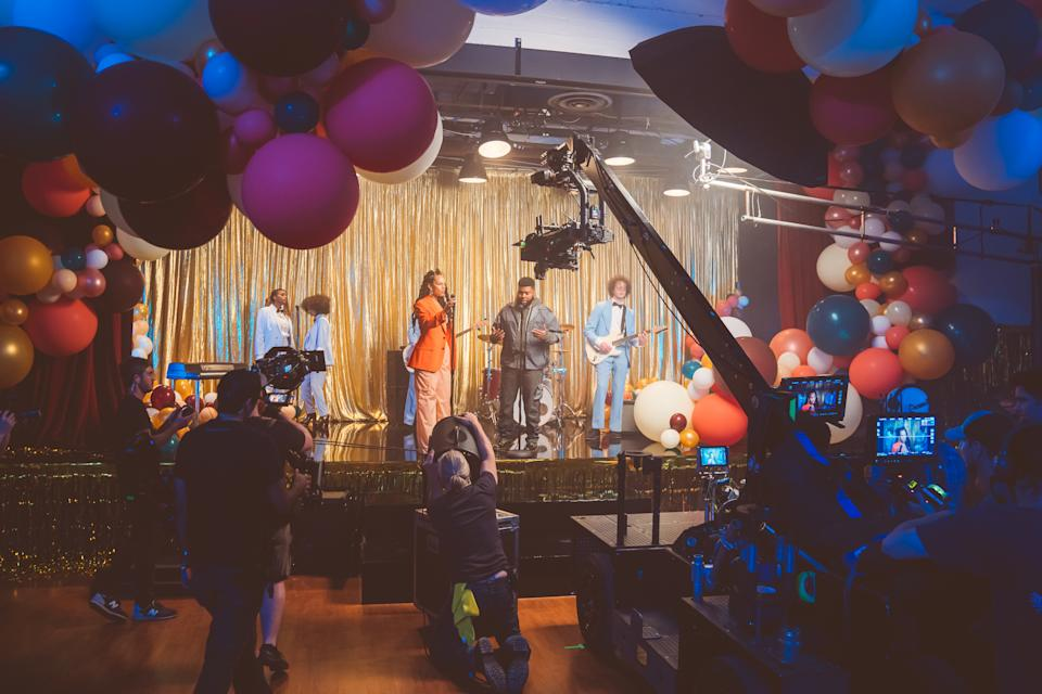 "Alicia and Khalid on the set of the ""So Done"" music video. (Photo: RCA Records)"