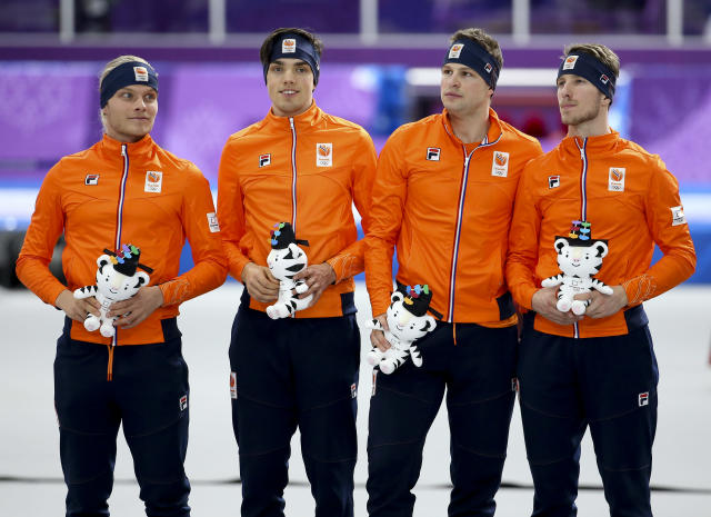<p><strong>THE BAD</strong><br>Dutch Skaters Injure People:<br>Dutch Bronze medalists Koen Verweij, Patrick Roest, Sven Kramer and Jan Blokhuijsen of the Netherlands celebrated a little too hard at the Heineken House. Two fans were injured after the four Dutch speedskaters threw a giant mock medal into the crowd. Dutch media said one fan was treated on site, while another was taken to a nearby hospital. (Getty Images) </p>