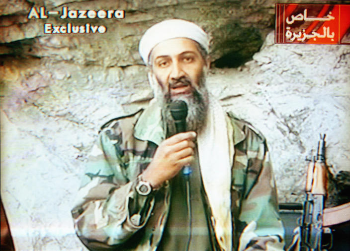 Osama bin Laden on Al-Jazeera television. (Maher Attar/Sygma via Getty Images)