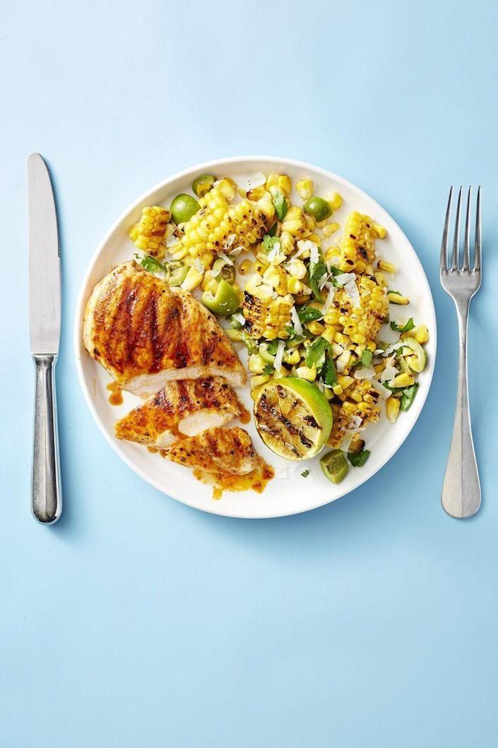 """<p>Goodbye, pile of dishes! Searing lime-infused chicken breast and fresh corn <a href=""""https://www.goodhousekeeping.com/appliances/outdoor-grill-reviews/g26870787/best-gas-grills-reviews/"""" rel=""""nofollow noopener"""" target=""""_blank"""" data-ylk=""""slk:together on the grill"""" class=""""link rapid-noclick-resp"""">together on the grill</a> means you have a seriously flavorful dinner in less than 30 minutes. </p><p><a href=""""https://www.goodhousekeeping.com/food-recipes/easy/a22576305/grilled-chicken-with-smoky-corn-salad-recipe/"""" rel=""""nofollow noopener"""" target=""""_blank"""" data-ylk=""""slk:Get the recipe for Grilled Chicken With Smoky Corn Salad »"""" class=""""link rapid-noclick-resp""""><em>Get the recipe for Grilled Chicken With Smoky Corn Salad »</em></a></p><p><strong>RELATED</strong>: <a href=""""https://www.goodhousekeeping.com/food-recipes/g4409/summer-chicken-recipes/"""" rel=""""nofollow noopener"""" target=""""_blank"""" data-ylk=""""slk:41 Crazy-Delicious Summer Chicken Recipes to Try Now"""" class=""""link rapid-noclick-resp"""">41 Crazy-Delicious Summer Chicken Recipes to Try Now</a></p>"""