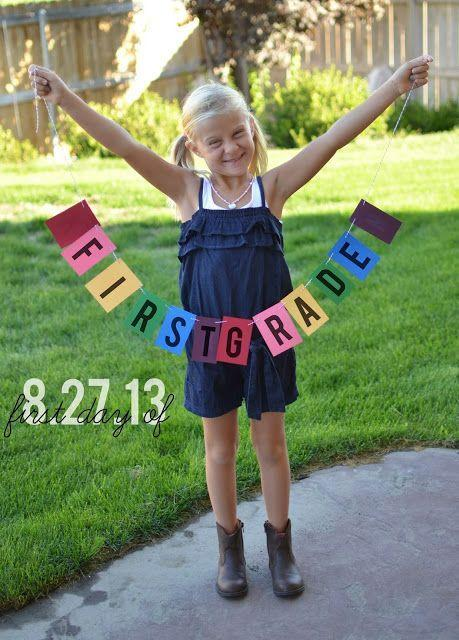 """<p>Spelling out a short message — like your child's grade or age — and hanging the letters on a string doubles as a pre-first day lesson in the alphabet <em>and</em> an Instagrammable banner for photos. """"Try making any capital letters the size of your child's hand,"""" Ireland says. """"It's a pretty safe size to stay with for legibility."""" </p><p><em><a href=""""http://makeitmyown.blogspot.com/2013/09/first-grade.html"""" rel=""""nofollow noopener"""" target=""""_blank"""" data-ylk=""""slk:See more at Ruffled Sunshine »"""" class=""""link rapid-noclick-resp"""">See more at Ruffled Sunshine »</a></em> </p><p><strong>RELATED:</strong> <a href=""""https://www.goodhousekeeping.com/life/parenting/g27678115/back-to-school-hacks/"""" rel=""""nofollow noopener"""" target=""""_blank"""" data-ylk=""""slk:Creative Back-to-School Hacks to Get Your Year off to a Running Start"""" class=""""link rapid-noclick-resp"""">Creative Back-to-School Hacks to Get Your Year off to a Running Start </a></p>"""