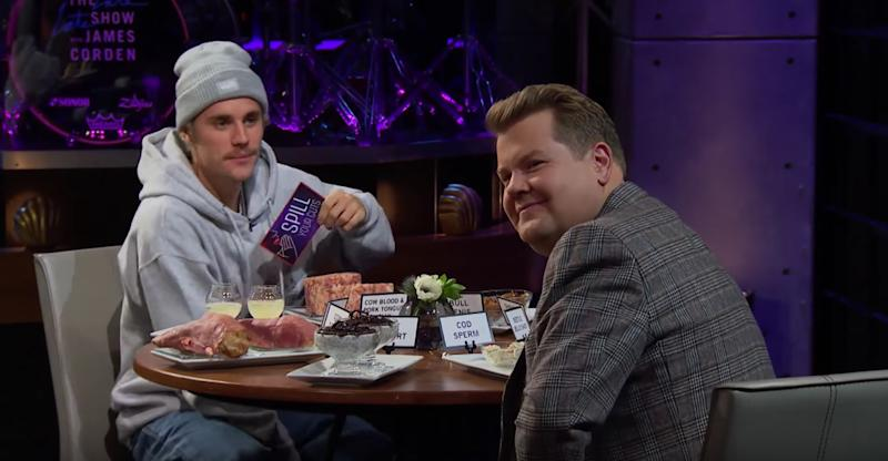 Justin and James face the tough questions on The Late, Late Show (Photo: CBS)