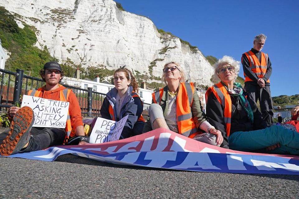 Protesters from Insulate Britain block the A20 in Kent, which provides access to the Port of Dover (Gareth Fuller/PA) (PA Wire)