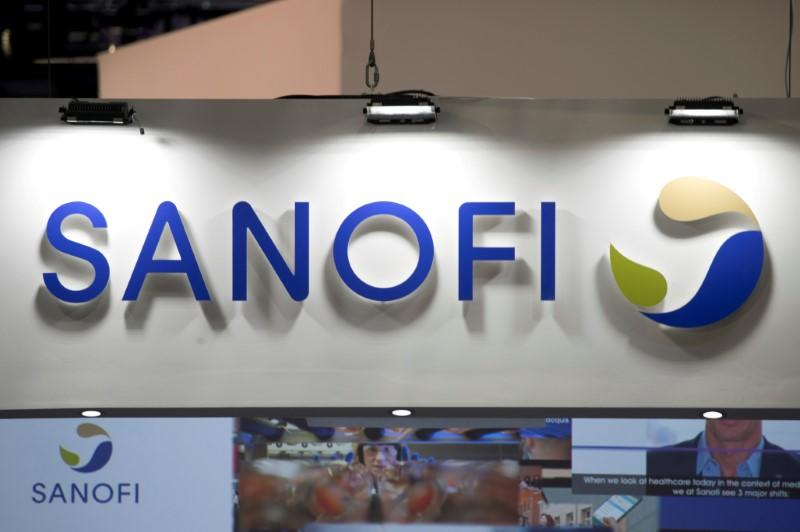 FILE PHOTO: The logo of Sanofi is pictured during the Viva Tech start-up and technology summit in Paris