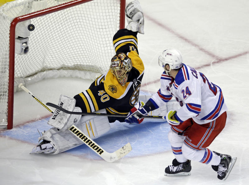 Boston Bruins goalie Tuukka Rask (40) makes a save on a breakaway by New York Rangers right wing Ryan Callahan (24) during the third period in Game 5 of the Eastern Conference semifinals in the NHL hockey Stanley Cup playoffs in Boston, Saturday, May 25, 2013. (AP Photo/Charles Krupa)