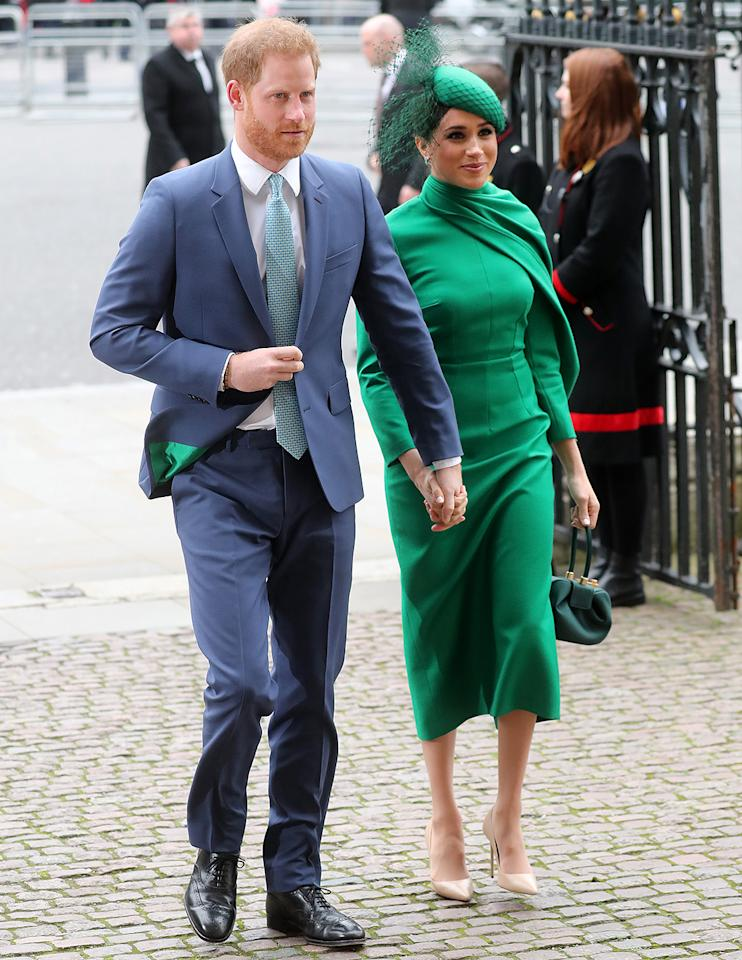 """<p>Meghan Markle and Prince Harry joined Queen Elizabeth and other members of the royal family at the <a href=""""https://people.com/royals/meghan-markle-prince-harry-reunite-kate-middleton-prince-william-commonwealth-day/"""">Commonwealth Day service</a> at Westminster Abbey on Monday — the couple's final announced engagement before they step down from their royal roles at the end of March.</p>"""