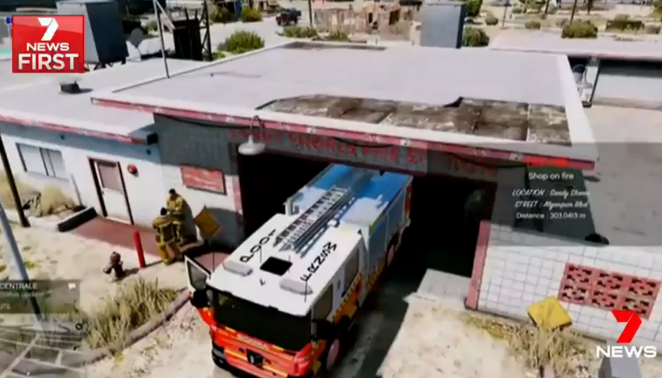 The game also features images of fire trucks. Source: 7 News