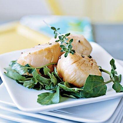"""<p>Escabèche is a Spanish dish in which cooked seafood is marinated and served cold as an appetizer. Though it's traditionally made with sardines, escabèche is also good with other seafood, including scallops and shrimp. Marinate for only 30 minutes to ensure the scallops remain tender. Top with thyme sprigs. </p><p><a href=""""https://www.myrecipes.com/recipe/escabche-style-scallops"""" rel=""""nofollow noopener"""" target=""""_blank"""" data-ylk=""""slk:Escab&#232;che-Style Scallops Recipe"""" class=""""link rapid-noclick-resp"""">Escab&#232;che-Style Scallops Recipe</a></p>"""