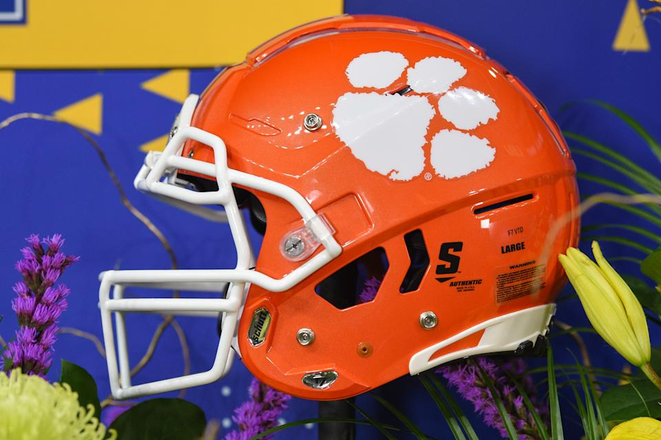 A Clemson helmet on the TV set before the CFP National Championship.